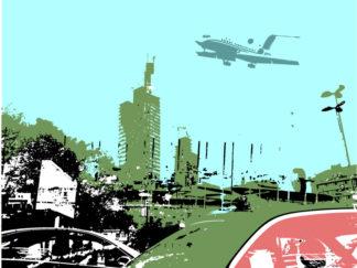 Stadt, City, Flugzeug, Verkehr