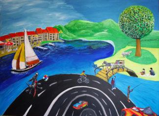 Landschaft, naive Malerei