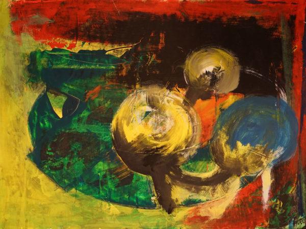 gelb, blau-Kugel Gemälde